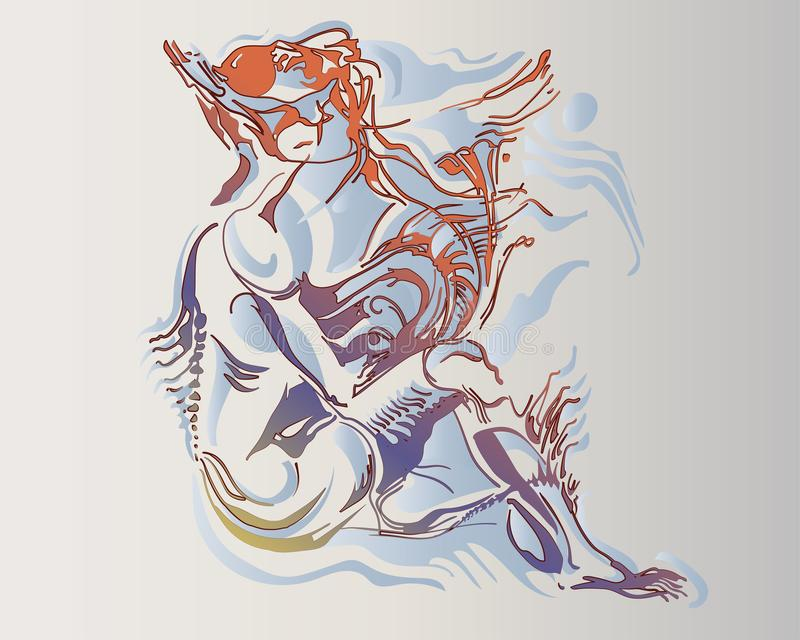 Imagem do vetor de uma mulher anfíbia fantástica ilustração stock