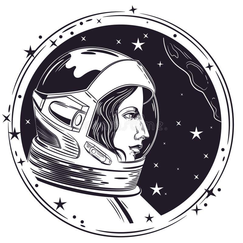 Imagem do vetor de uma mulher do astronauta Mulher no capacete de espaço ilustração stock