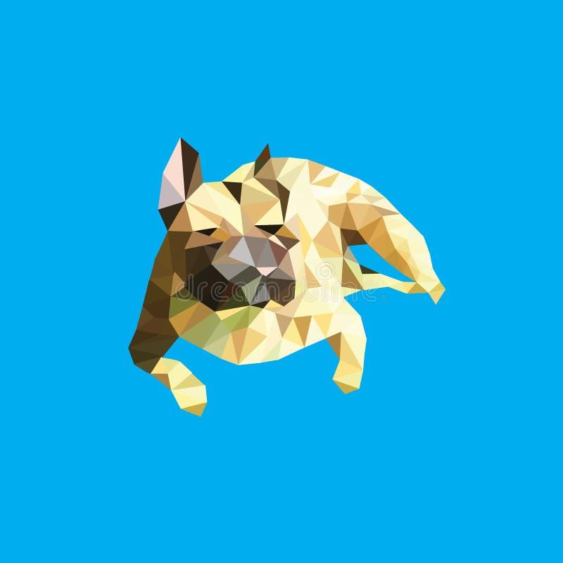 A imagem do vetor de uma silhueta de um cão produz um buldogue francês em um fundo azul ilustração royalty free