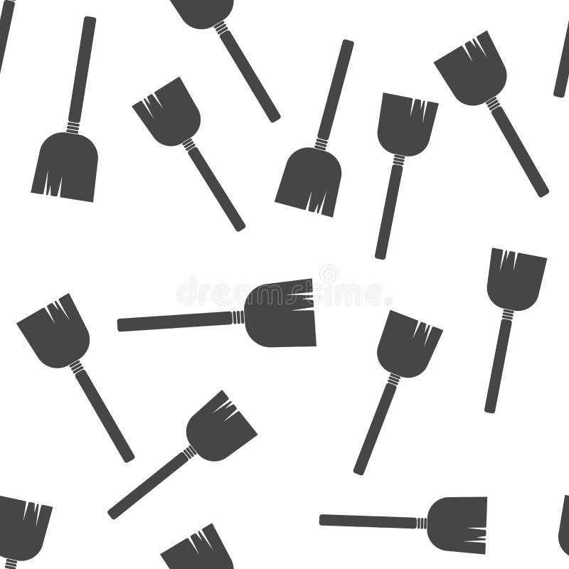 Imagem do vetor de uma vassoura ou de um espanador Teste padrão sem emenda da vassoura da ilustração do vetor em um fundo branco ilustração royalty free