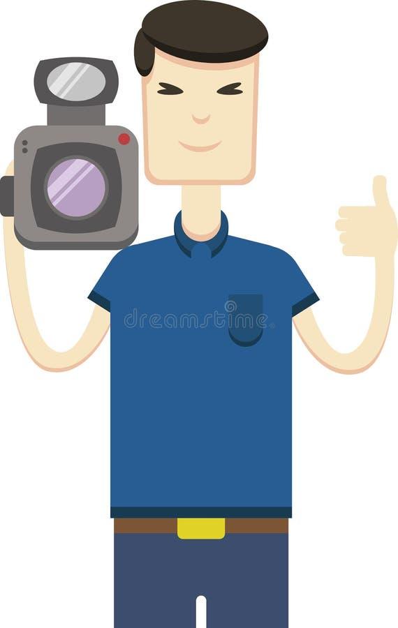 Imagem do vetor do homem asiático com câmara de vídeo ilustração royalty free