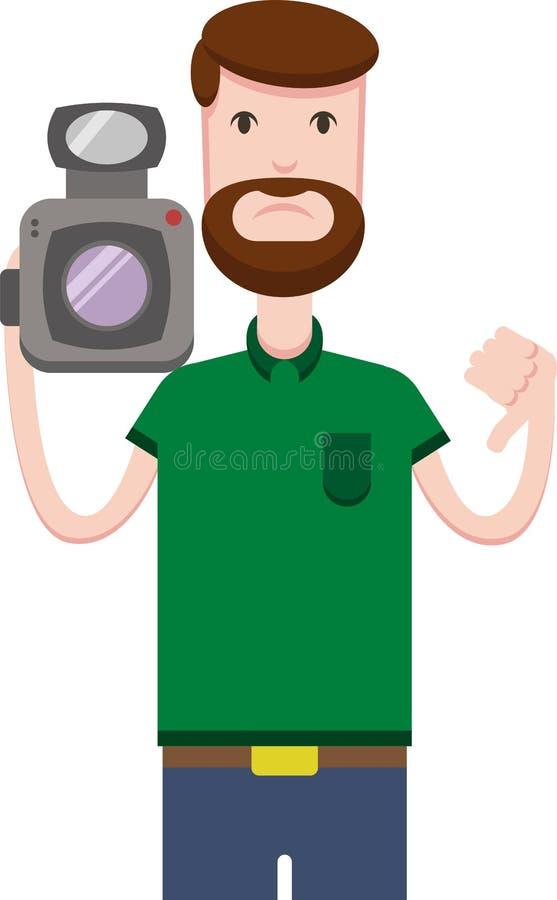 Imagem do vetor do homem com uma câmara de vídeo ilustração stock