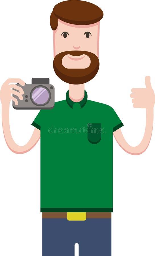 Imagem do vetor do homem com uma câmera ilustração royalty free