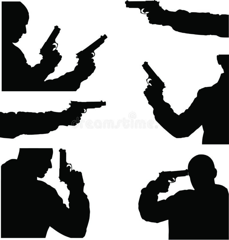 Imagem do vetor do homem e da arma ilustração stock