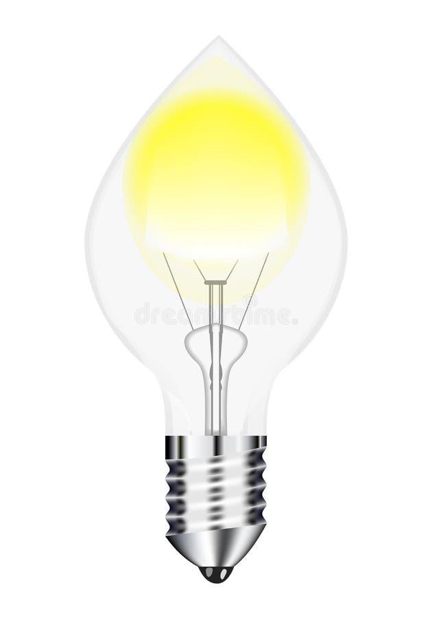 Imagem do vetor, filamento de tiragem da lâmpada elétrica com fundo branco ilustração royalty free