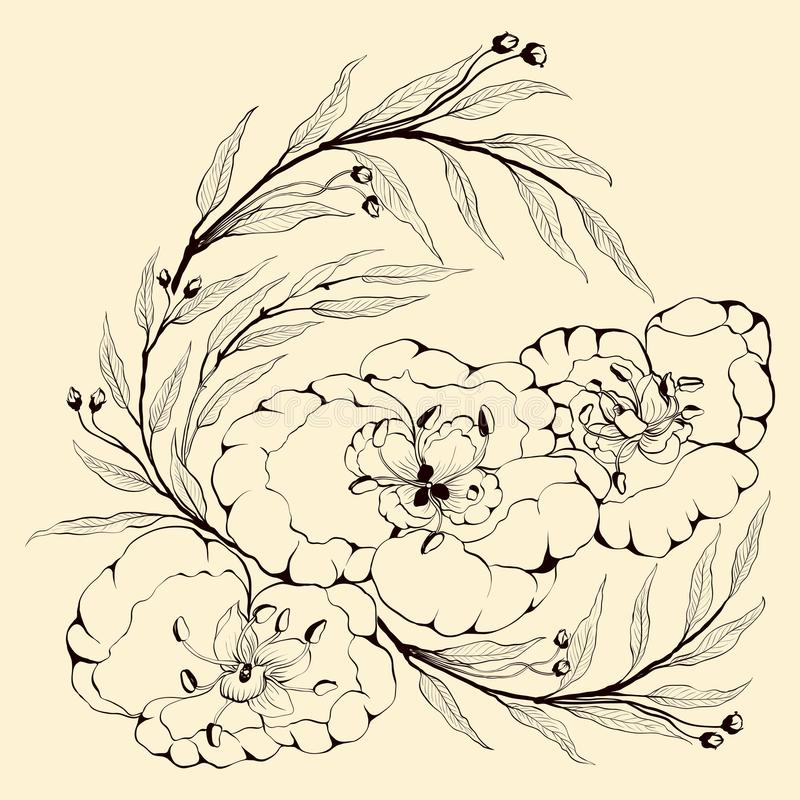 Imagem do vetor Flores e ramos das plantas - uma composição decorativa Use materiais impressos, sinais, artigos, w ilustração do vetor