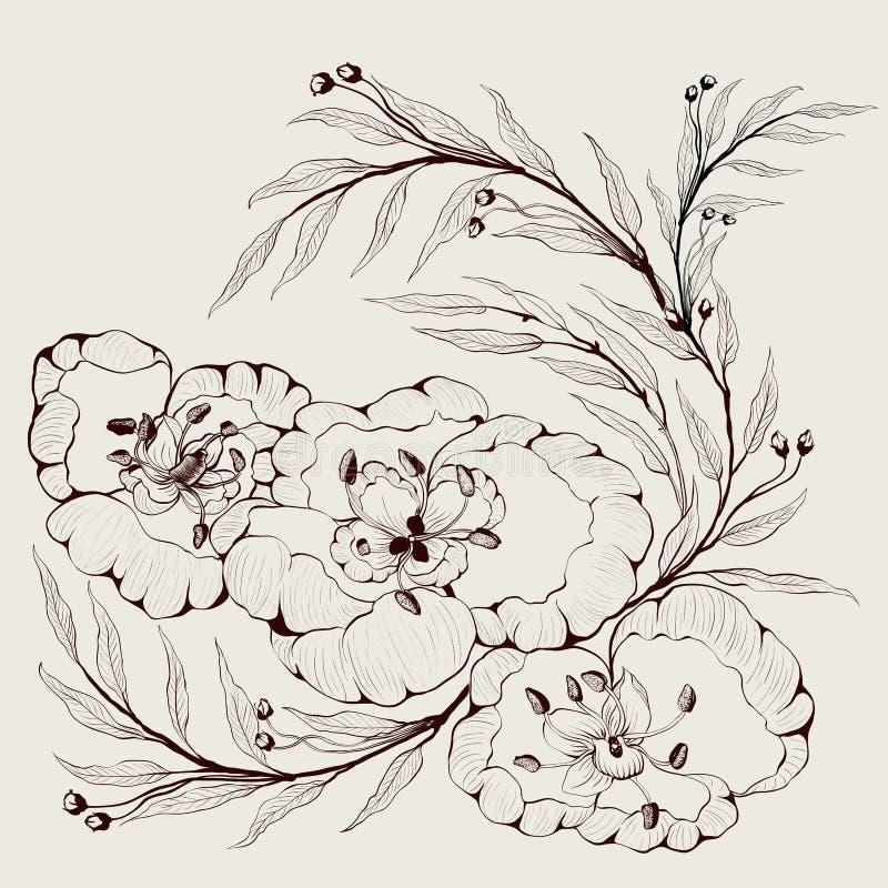 Imagem do vetor Flores e ramos das plantas - uma composição decorativa Use materiais impressos, sinais, artigos, Web site, mapas, ilustração stock