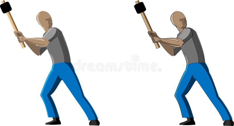 Imagem do vetor do homem que trabalha com o martelo em 2 opções com esboços e sem esboço ilustração royalty free