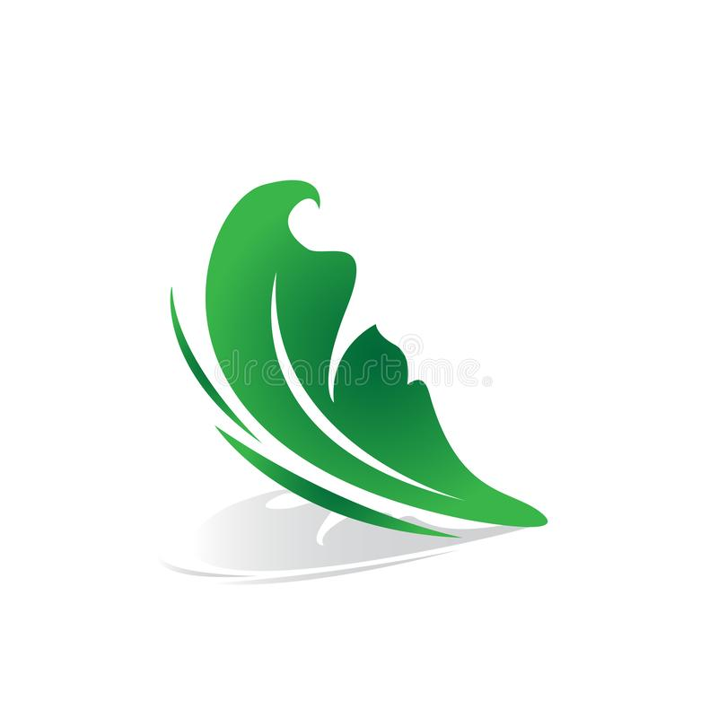 imagem do vetor do logotipo do negócio da beleza da borboleta da forma de folha ilustração stock