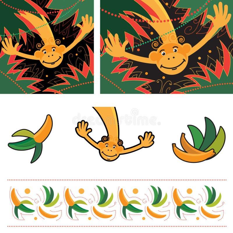 Imagem do vetor do macaco no fundo das palmeiras ilustração royalty free