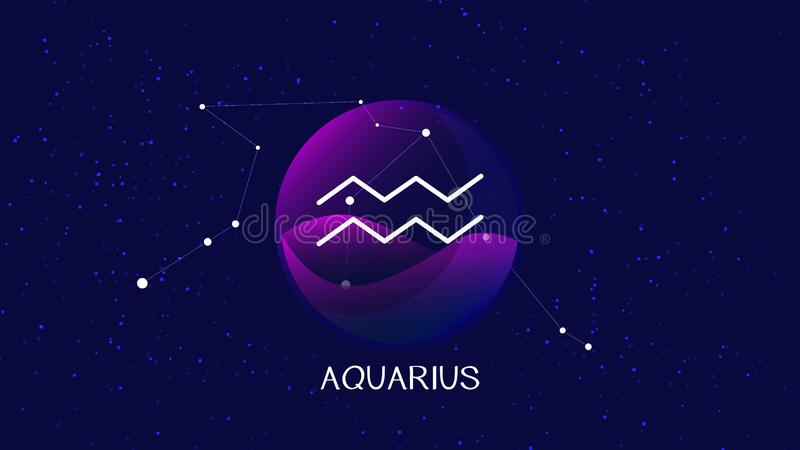 Imagem do vetor que representa a noite, céu estrelado com constelação do zodíaco do aquarius atrás da esfera de vidro com sinal e ilustração royalty free