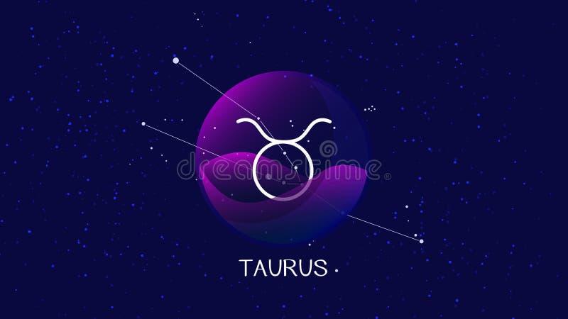 Imagem do vetor que representa a noite, o céu estrelado com o taurus ou a constelação do zodíaco do touro atrás da esfera de vidr ilustração royalty free