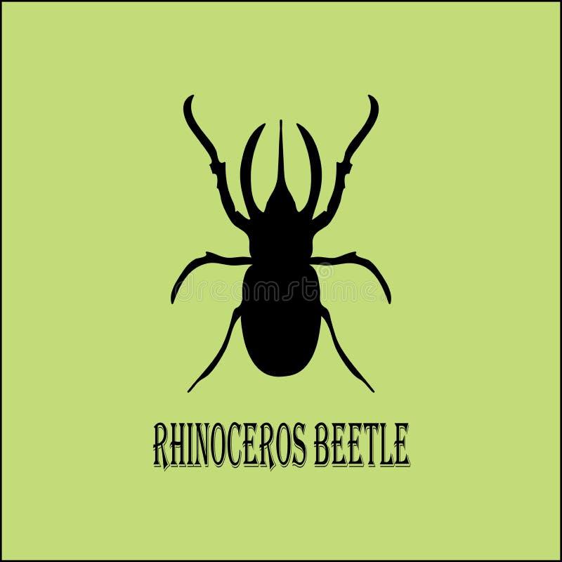 Imagem do vetor - silhueta preta do besouro de rinoceronte no fundo do pistache ilustração do vetor