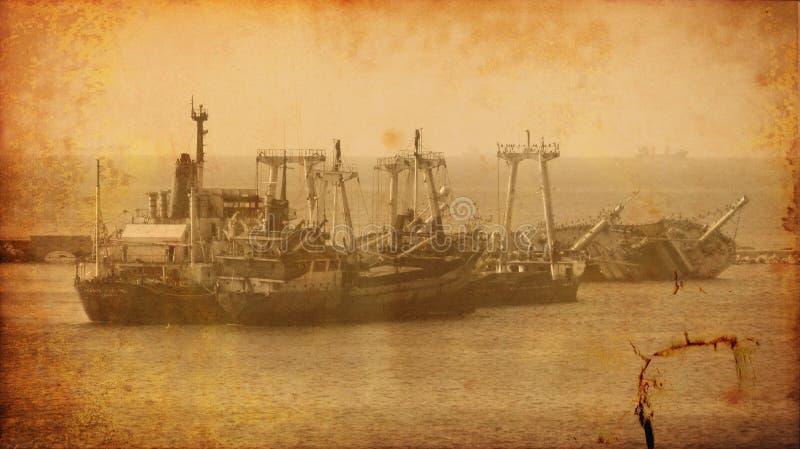 Imagem do vintage da destruição velha do navio da destruição imagem de stock
