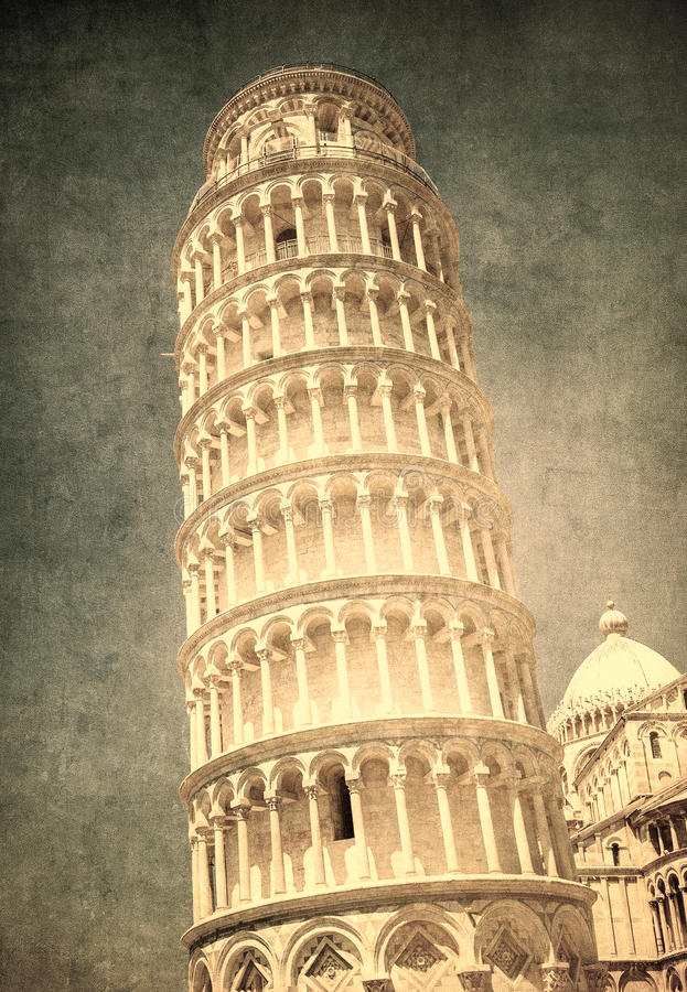 Imagem do vintage da torre inclinada de Pisa, Itália fotografia de stock