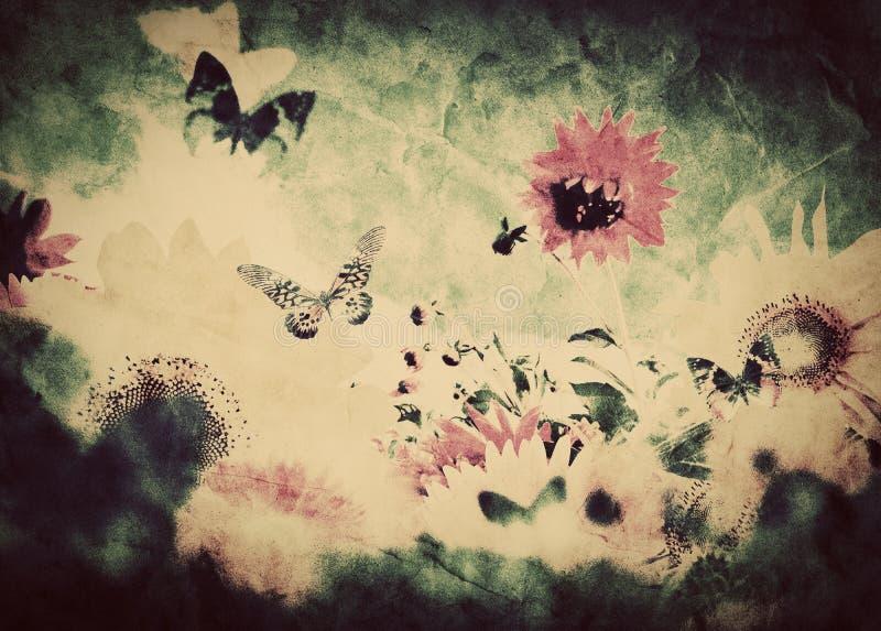 Imagem do vintage das flores e da borboleta imagens de stock royalty free