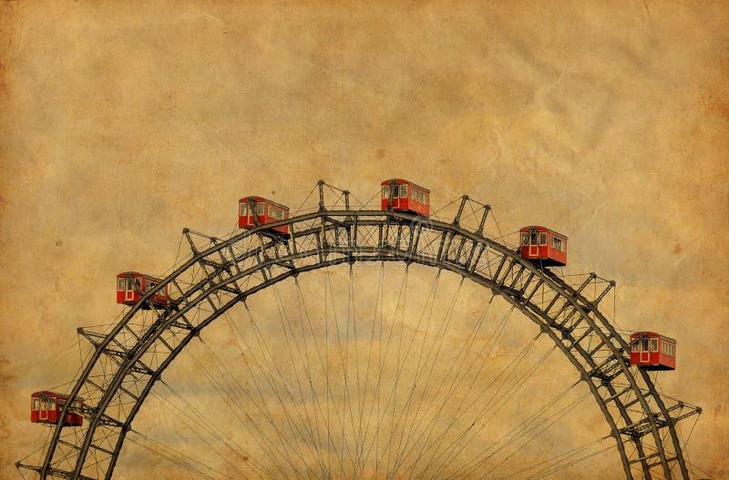 Imagem do vintage de Ferris Wheel famoso no parque de Prater - Viena Áustria fotografia de stock royalty free