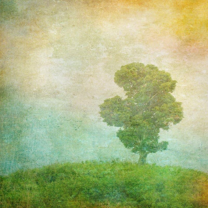 Imagem do vintage de uma árvore sobre o fundo do grunge fotos de stock royalty free