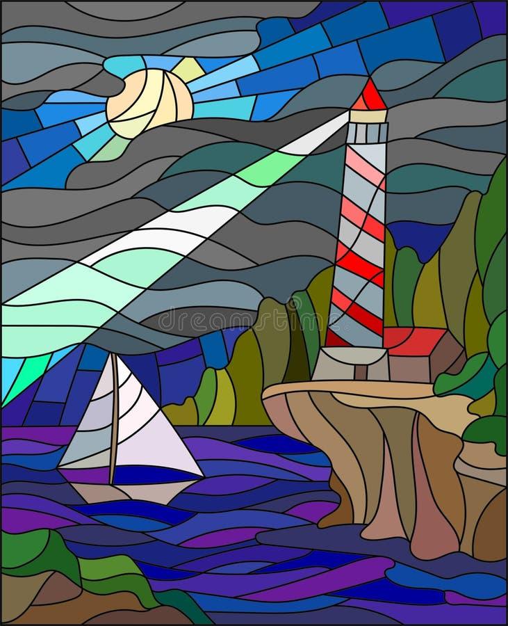 Imagem do vitral do seascape, do farol e do veleiro ilustração royalty free