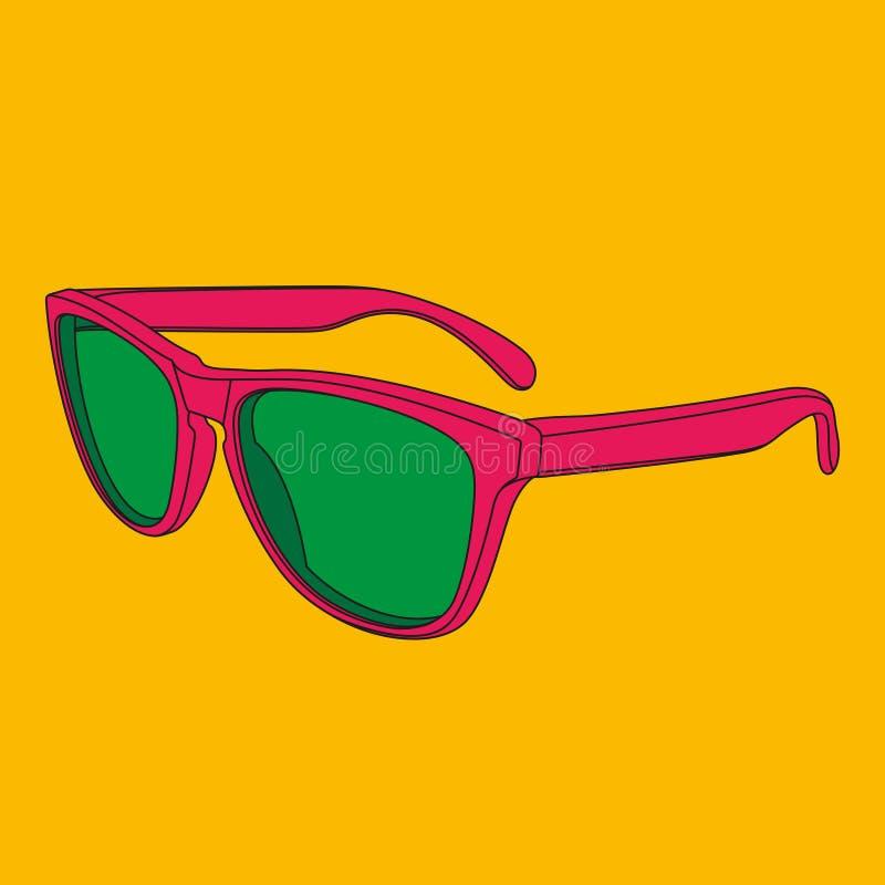 Imagem dos óculos de sol do pop art Dicionário ilustrado da forma ilustração do vetor