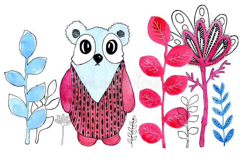 Imagem dos desenhos animados de uma panda Beira Desenho na aquarela e estilo gráfico para o projeto das cópias, fundos, cartões ilustração do vetor