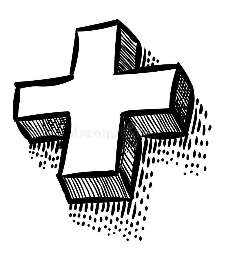 Imagem dos desenhos animados do ícone positivo Símbolo transversal ilustração do vetor
