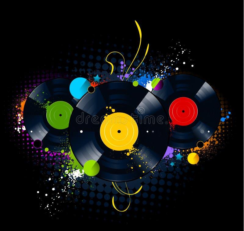 Imagem dos grafittis com disco do vinil ilustração stock