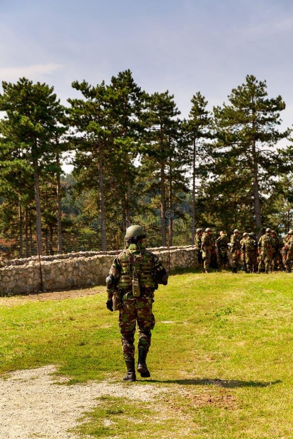 Imagem dos soldados na ação foto de stock