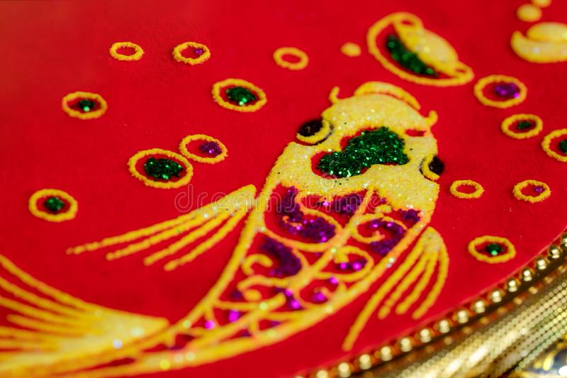 Imagem dourada chinesa dos peixes do dragão imagens de stock royalty free