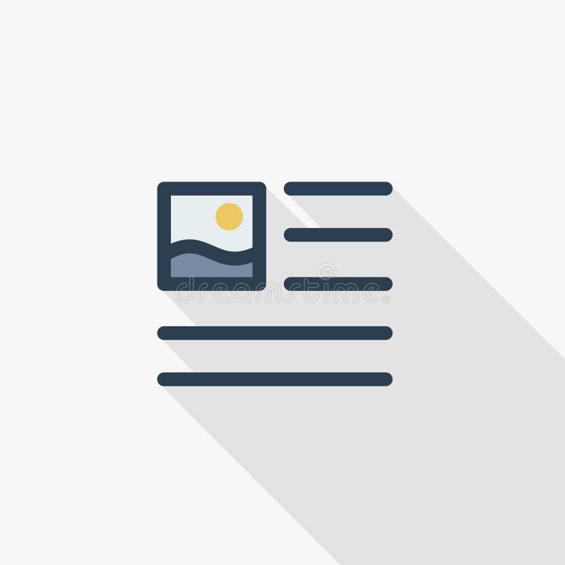 Imagem, imagem e índice do texto, linha fina ícone liso do artigo de jornal da cor Símbolo linear do vetor Sombra longa colorida ilustração do vetor