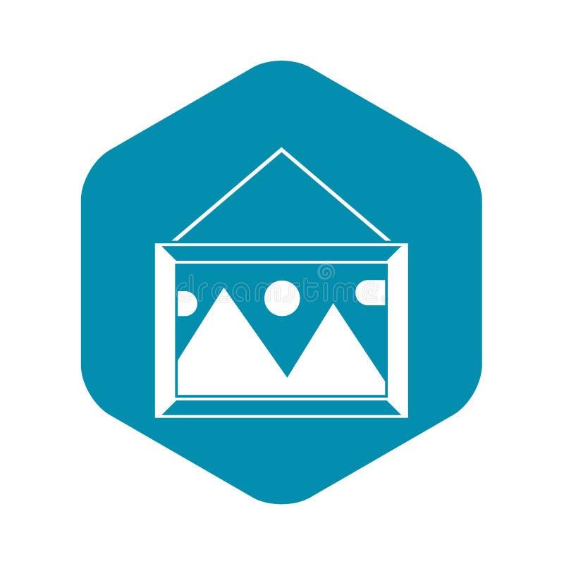Imagem em um quadro no ícone da parede, estilo simples ilustração royalty free