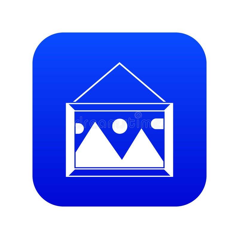 Imagem em um quadro no azul digital do ícone da parede ilustração stock