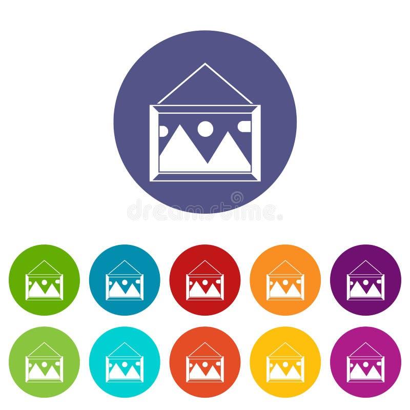 Imagem em um quadro nos ícones ajustados da parede ilustração stock