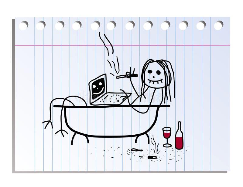 Imagem engraçada na folha do caderno na linha ilustração do vetor