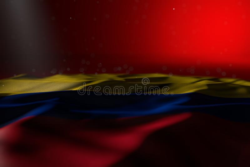 Imagem escura bonita da bandeira de Col?mbia que encontra-se no fundo vermelho com bokeh e do lugar livre para o texto - alguma b ilustração do vetor