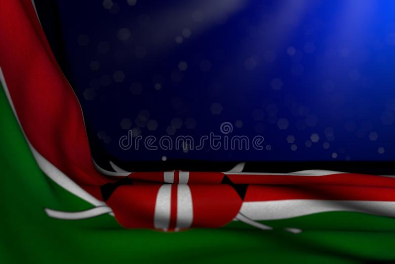 Imagem escura maravilhosa da bandeira de Kenya que encontra-se no canto no fundo azul com foco seletivo e do lugar vazio para seu ilustração stock