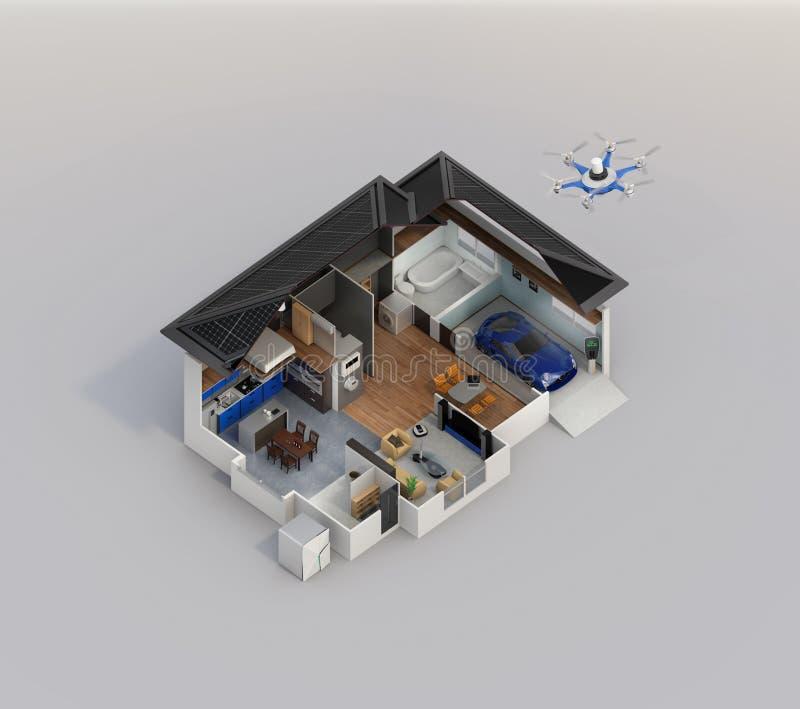 Imagem esperta do conceito da tecnologia da domótica com espaço da cópia ilustração stock