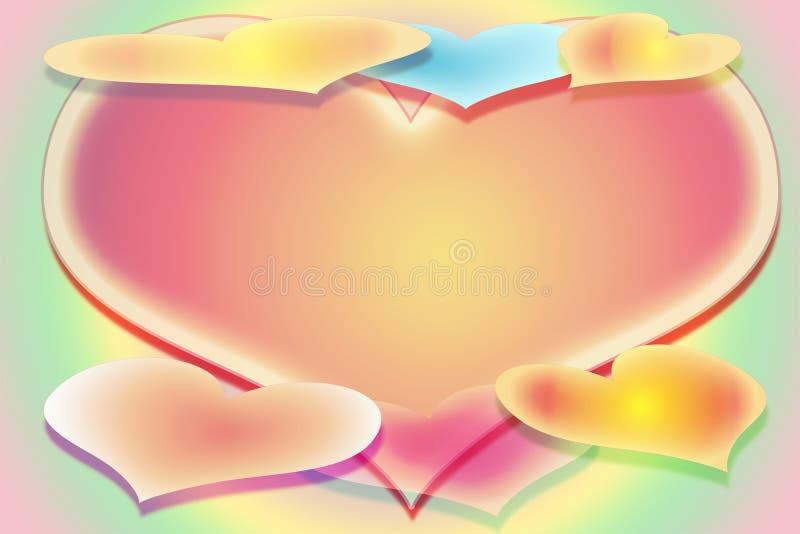 A imagem estilizado de sete corações em um fundo multi-coloured com um campo livre fotografia de stock