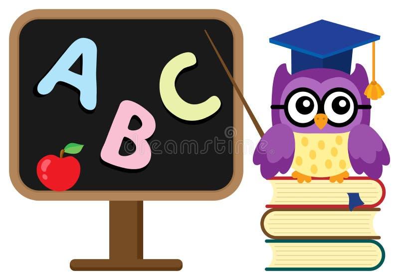 Imagem estilizado do tema da coruja da escola ilustração do vetor