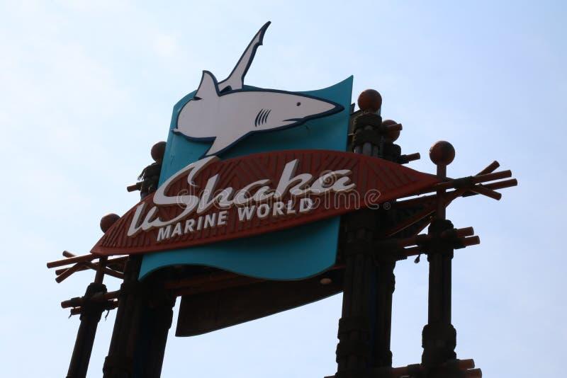 Imagem exterior do uShaka Marine World Sign imagens de stock