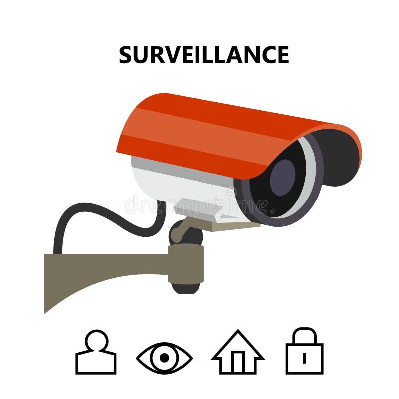 Imagem exterior do vetor da câmara de vigilância da segurança ilustração do vetor