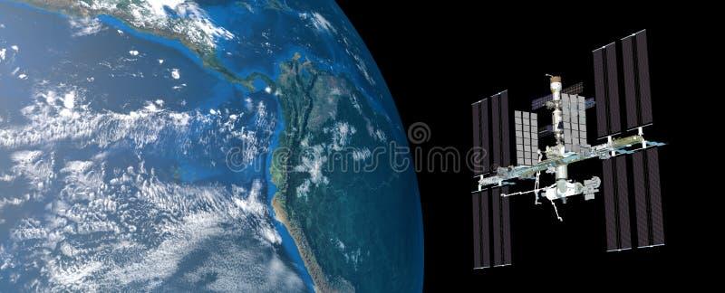 A imagem extremamente detalhada e realística da alta resolução 3D da terra de órbita da estação espacial internacional do ISS dis ilustração royalty free