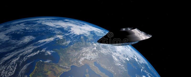 A imagem extremamente detalhada e realística da alta resolução 3D de um UFO/de uma terra de órbita pires de voo disparou do espaç ilustração royalty free