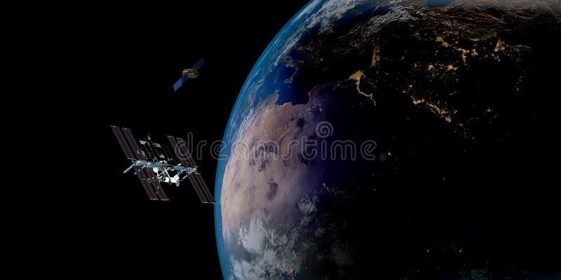 Imagem extremamente detalhada e realística da alta resolução 3D de uma terra de órbita satélite Disparado do espaço ilustração royalty free