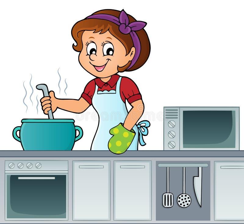 Imagem fêmea 2 do assunto do cozinheiro ilustração stock