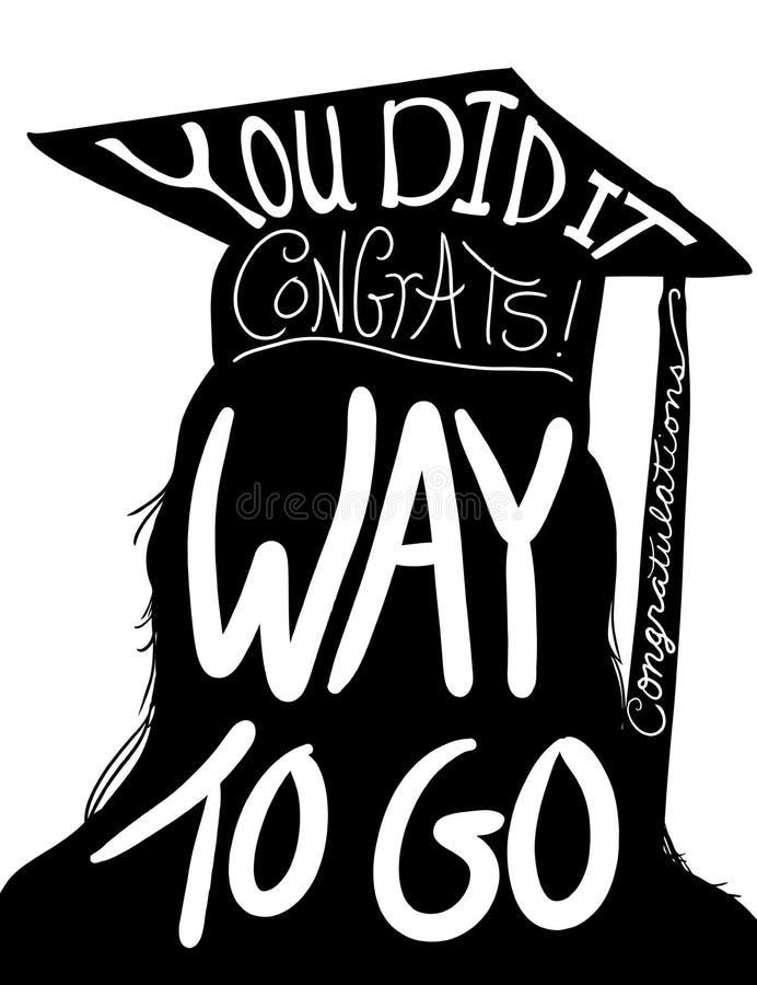 Imagem, felicitações a graduar-se com tampão e borla do projeto da graduação ilustração stock