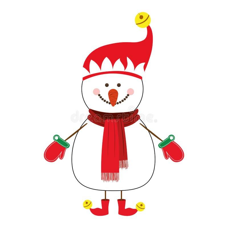 Imagem feliz do ícone dos desenhos animados do boneco de neve ilustração stock