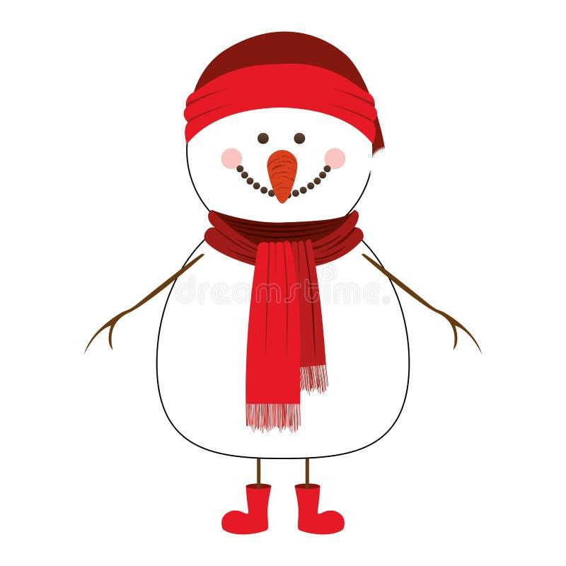 Imagem feliz do ícone dos desenhos animados do boneco de neve ilustração royalty free