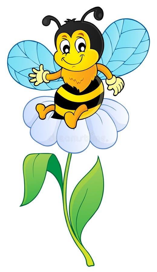Imagem feliz 1 do assunto da abelha da mola ilustração royalty free