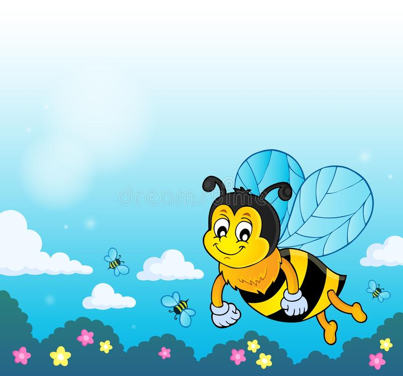 Imagem feliz 2 do assunto da abelha da mola ilustração stock